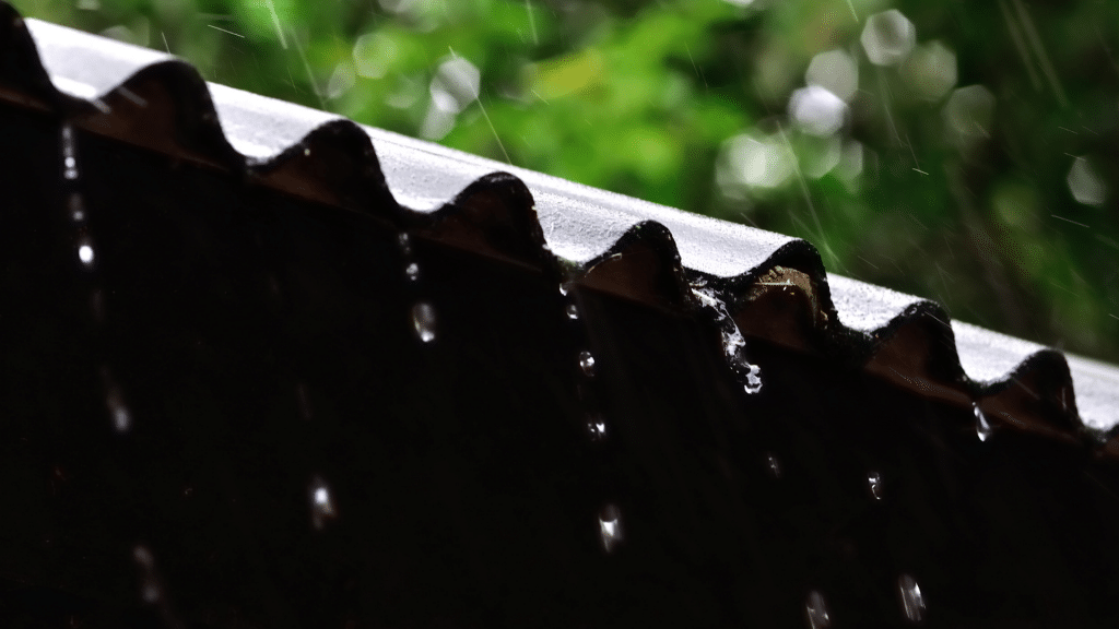 Rain falling from the roof