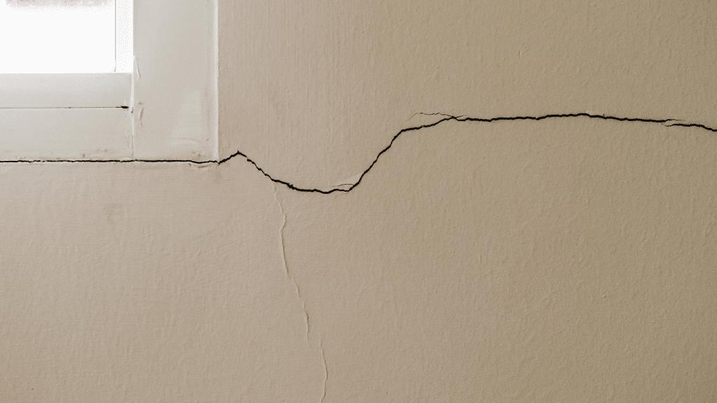 crack around the corner of a window