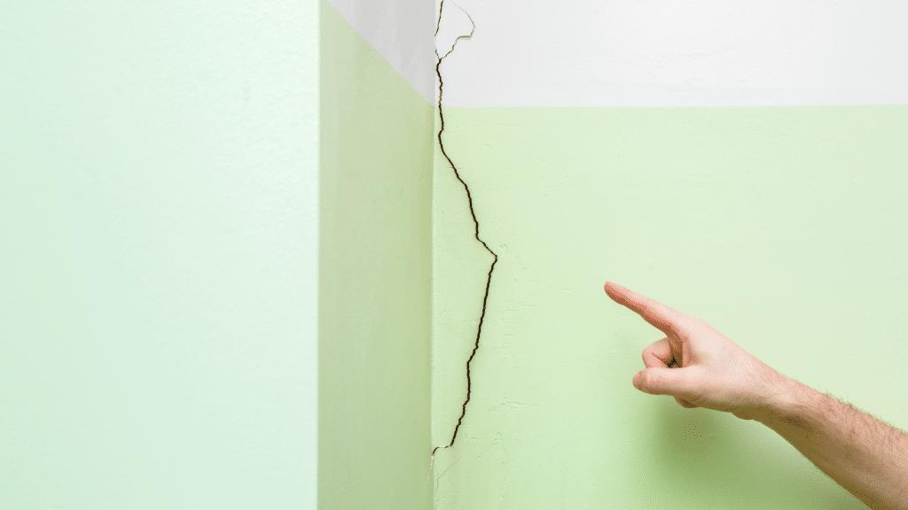 crack near the corner of the room