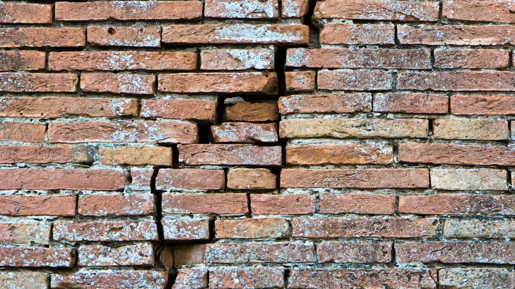 cracks on brick facade