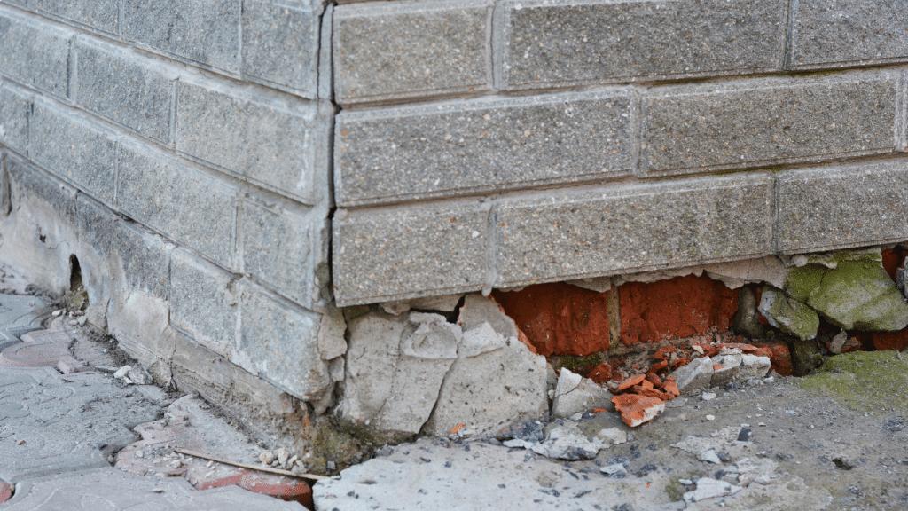 crumbling brick foundation