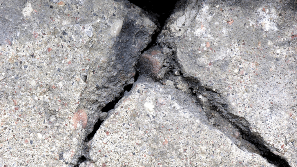 deteriorating sections of concrete