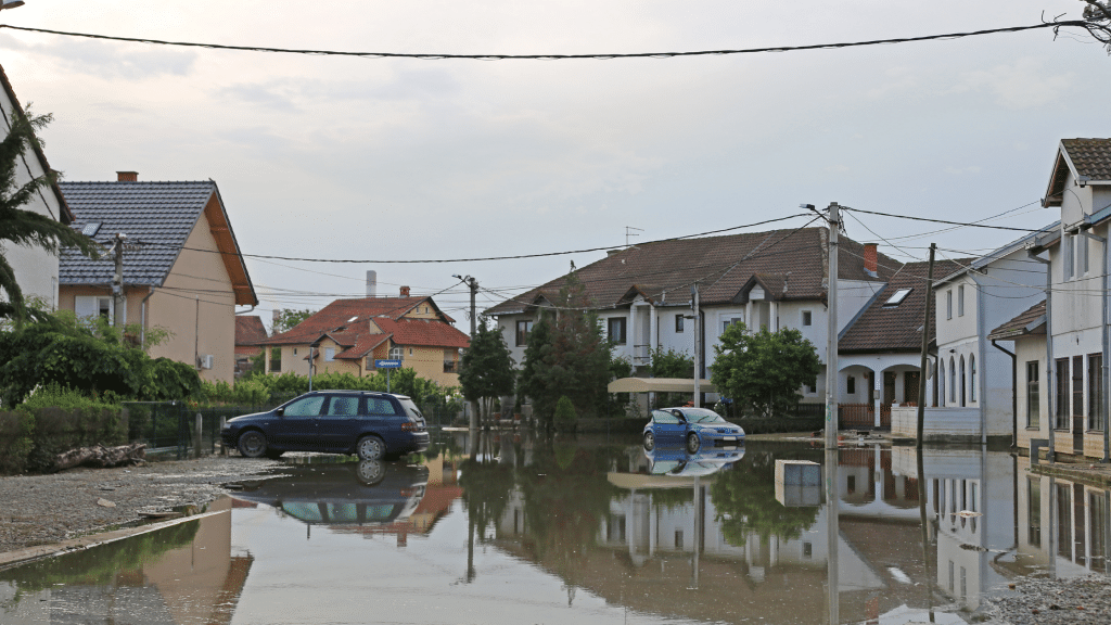 flooded street with cars and houses