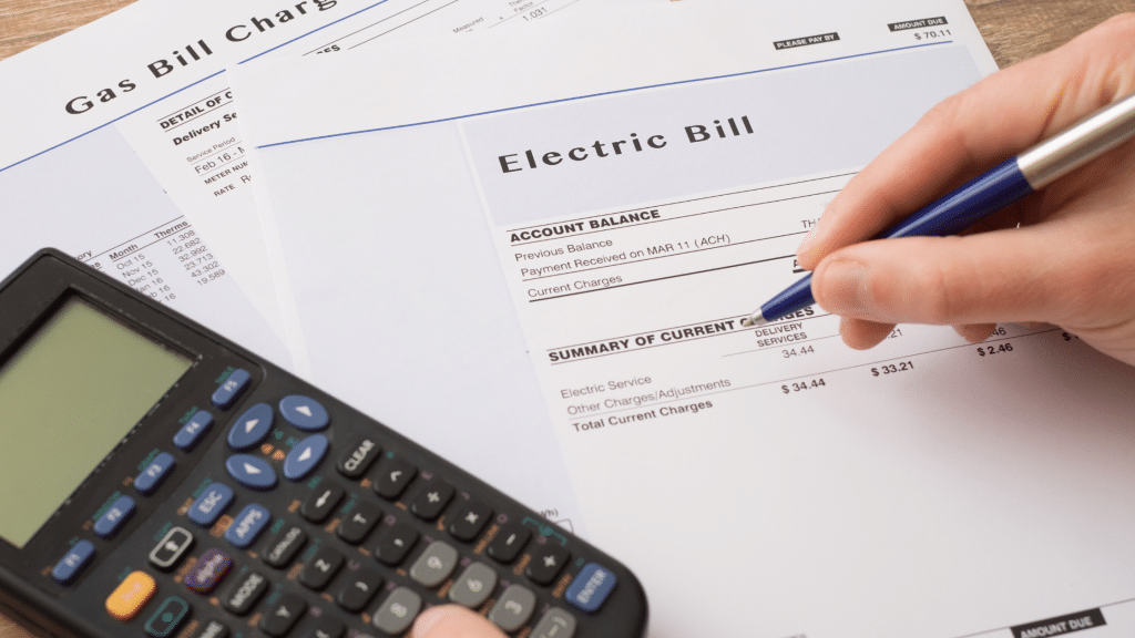 gas bill and electric bill