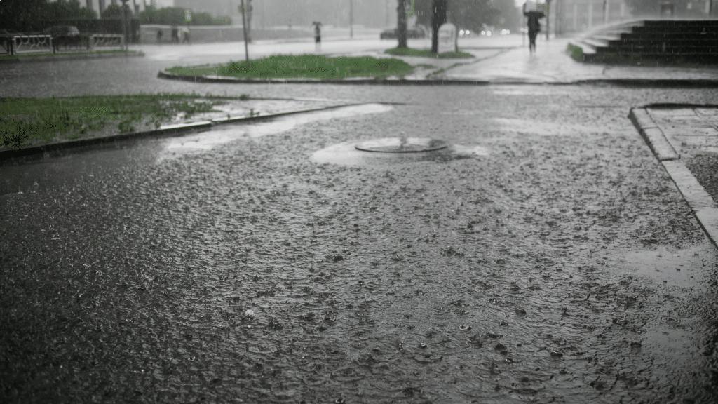 heavy rainfall and flooded street