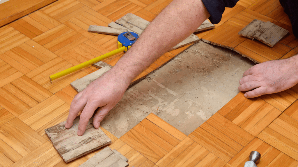 the worker lays the parquet