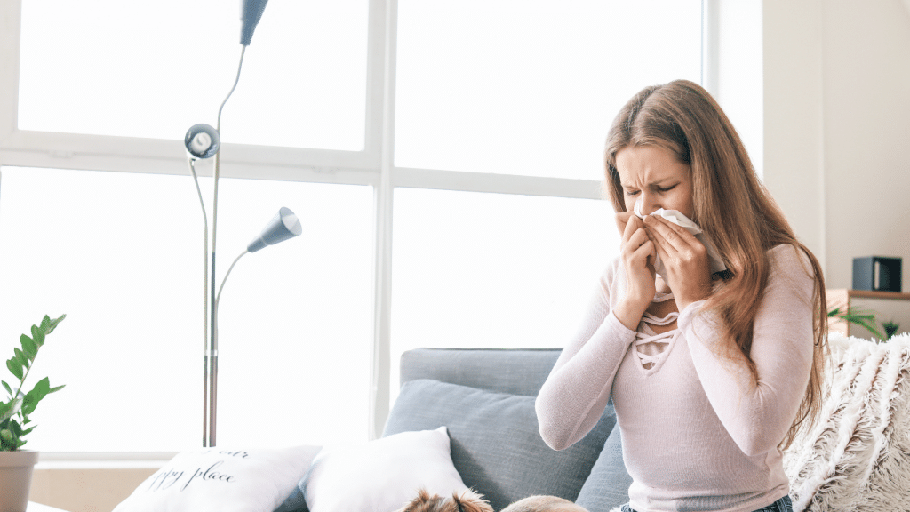 woman having an allergic reaction
