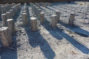 Reinforced concrete pier foundation on the construction site